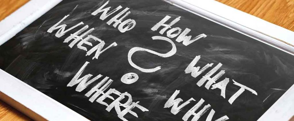chalkboard image of who,what,where, when and why